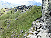 """NN2505 : Don't look down – the narrow ledge on the highest point of """"The Cobbler� by Peter S"""