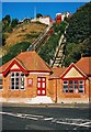 TR2235 : Leas Lift Lower Station and tracks in October 2003, Folkestone, Kent by P L Chadwick