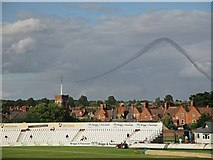 SP7761 : Northampton: The County Ground and The Red Arrows by John Sutton