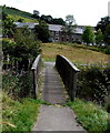 SS8993 : Wooden footbridge over the Afon Garw, Blaengarw by Jaggery