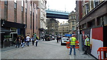 NZ2563 : Scene on Side Street, Newcastle upon Tyne by Jeremy Bolwell