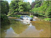 NY6121 : A car crosses the ford by David Medcalf