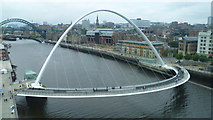 NZ2563 : The Gateshead Millennium Bridge from the viewing platform on the Baltic Centre by Jeremy Bolwell