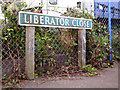 TG2813 : Liberator Close (road sign) by Evelyn Simak