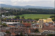 SO8454 : A train crossing the viaduct in Worcester by Philip Halling