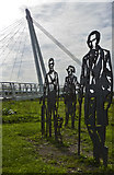 SO8453 : Diglis Bridge and Sculptures by Peter Young