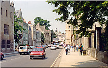 SP5105 : Oxford: northward on St Aldate's by Christ Church, 1992 by Ben Brooksbank