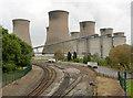 SK8179 : Cottam Power Station from Cottam Road railway bridge by Alan Murray-Rust