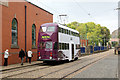 SK3454 : Blackpool 711 passing the workshops by Alan Murray-Rust