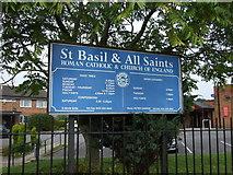 SJ4887 : Sign for St Basil & All Saints Church by JThomas