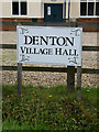 TM2888 : Denton Village Hall sign by Adrian Cable