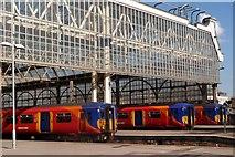 TQ3179 : Stationary trains, Waterloo Station by Julian Osley