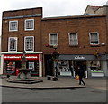 SJ2929 : British Heart Foundation shop and Clarks shoe shop in Oswestry by Jaggery