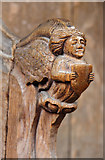TG2834 : St Botolph, Trunch - Bench elbow by John Salmon