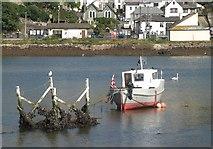 SX2553 : Object and boat, West Looe River by Derek Harper