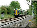 SP1658 : Train approaching Wilmcote Station, Warwickshire by Roger  Kidd
