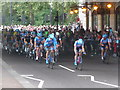 TQ3080 : London: cyclists racing under Hungerford Bridge by Chris Downer