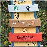 SJ9594 : Sustrans Signpost at Swain's Valley: Centre Detail by Gerald England