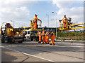 SK5638 : Overhead erection on Enterprise Way - 1 by Alan Murray-Rust