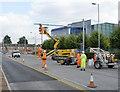 SK5638 : Overhead erection on Enterprise Way - 3 by Alan Murray-Rust