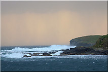 HP5605 : Approaching shower beyond Brough Holm, Westing, at sunset by Mike Pennington