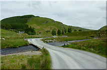 SN8355 : Road crossing the Afon Irfon, Powys by Roger  Kidd