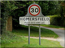 TM2885 : Homersfield Village Name sign on St.Cross Road by Adrian Cable