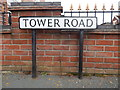 TM0322 : Tower Road sign by Hamish Griffin