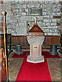 NY2262 : Font and bells, St Michael's Church by Rose and Trev Clough
