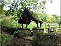 SK2375 : The lych gate entrance to Stoney Middleton (St Martin's Church) cemetery by Graham Hogg