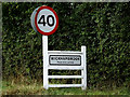 TL7654 : Wickhambrook Village Name sign by Geographer