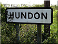 TL7451 : Hundon Village Name sign by Adrian Cable