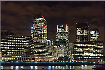 TQ3680 : Canary Wharf from the River Thames by Christine Matthews