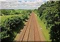 SX3160 : Railway line near Chubacoombe by Derek Harper