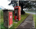 SO5711 : Path past a postbox and phonebox in Coleford by Jaggery