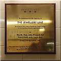SP0687 : Plaque to mark the opening of the Jewellery Line, Snow Hill Station, Birmingham, 1995 by Robin Stott