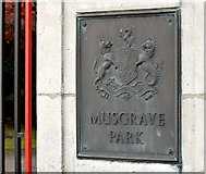 J3170 : Musgrave Park gate plaque, Belfast (October 2014) by Albert Bridge