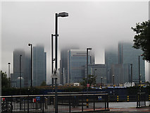 TQ3780 : Low cloud over the Isle of Dogs by Stephen Craven