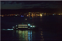 HU4841 : The Bressay ferry MV Leirna on Bressay Sound at night by Mike Pennington