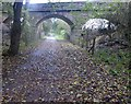 SE4347 : Bridge over former railway track now The Wetherby Railway Path by Steve  Fareham
