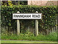 TM0562 : Finningham Road sign by Adrian Cable