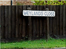 TM0960 : Weylands Close sign by Adrian Cable