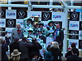 TL6262 : Cambridge lift the trophy for the Varsity horserace at Newmarket by Richard Humphrey