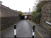 SS8591 : South Parade side of a low railway bridge in Maesteg by Jaggery