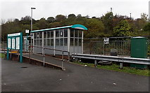 SS8591 : Information board and shelter at Maesteg railway station by Jaggery