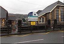 SS8591 : Zigzag yellow line outside a Maesteg primary school by Jaggery