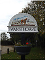 TG2100 : Swainsthorpe Village sign by Adrian Cable