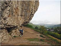 SD9768 : Overhangs at Kilnsey Crag by Trevor Littlewood