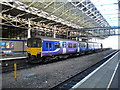 SE1416 : Train under overall roof, Huddersfield station by Richard Vince