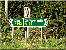 TM1678 : Roadsigns on the A143 Bungay Road by Adrian Cable
